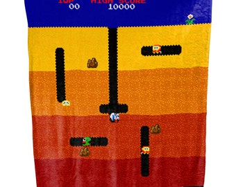 Dig Dug Arcade Retro Video Game Plush Fleece Blanket