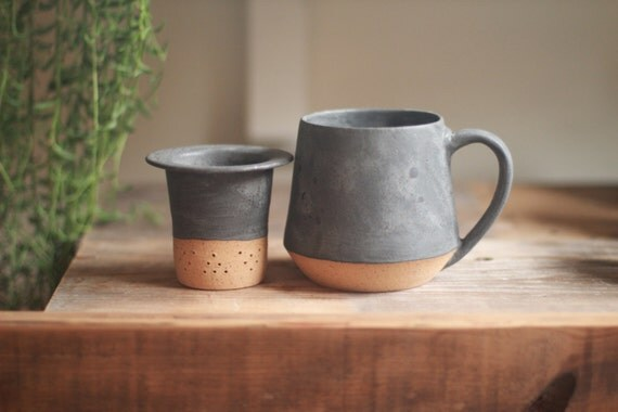 ceramic loose tea infuser mug set, ceramic mug, wheel thrown pottery mugs, tea infuser, stoneware mugs, , teacup, pottery mug, speckled