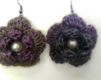 Crocheted flower earrings, floral earrings, purple crochet earrings, green crochet earrings, flower jewellery