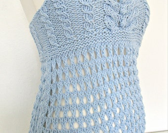Open back top Knitted summer top Blue crochet top Beach clothes Crochet tank top Knit cotton clothes Summer fashion tops Knitted womens gift