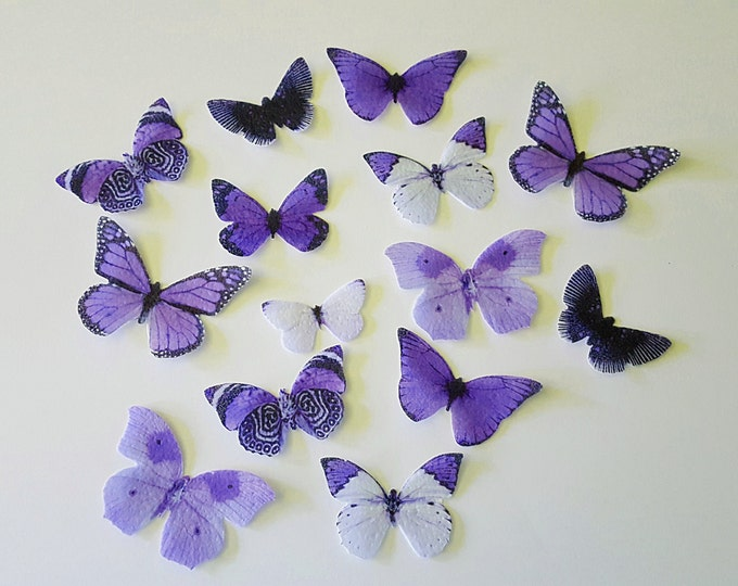 Edible Single-Color Butterfly Variety Collection, Double-Sided Wafer Paper Toppers for Cakes, Cupcakes or Cookies