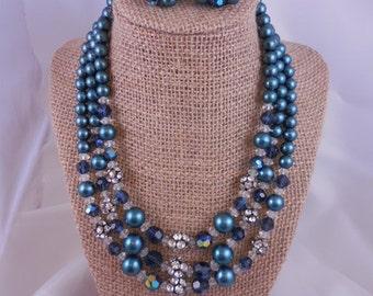 Vintage Teal Green Pearls and Aurora Borealis Rhinestone Necklace Set