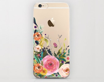 Floral iPhone 6s Case iPhone 6 Flower Case Transparent Tough Clear Cover Flower Arrangement Carnations Peony Peonies iPhone 6s iPhone 6