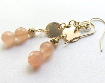 Peach Moonstone and Gold Fill Dangle Earrings - Dainty Moonstone Drop Earrings - Gold Gemstone Dangle Earrings - Wedding Bridesmaid Jewelry