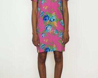 Vintage Bright Floral Pink Silk Dress