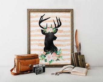 Printable wall art, Deer print, Girl room decoration, Deer art print, Room decor, Baby girl nursery, Deer wall art, Deer art work BD-642