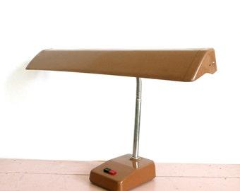 Vintage Mid Century Brown Industrial Fluorescent Desk Lamp