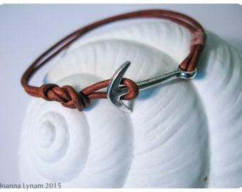 Leather Anchor bracelet. Leather bracelet. Anchor jewelry. Women's leather bracelet. Nautical bracelet. Nautical gift. Gift for sailor. ETSY