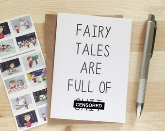 Funny Valentine's Day Card for Singles- Fairy Tales Are Full of Sh*t - Funny Singles Awareness Card - Funny Break Up Card