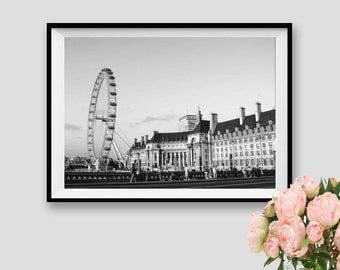 Wall Art London Photography Print London Instant Download Printable London Eye Print Panorama London Decor