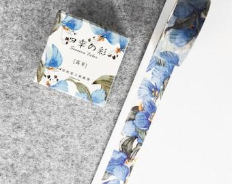 Cute washi tape - blue flowers #2 | Cute Stationery