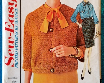 """Vintage 1960's suit - skirt, blouse, jacket sewing pattern - Advance Sew-Easy 3301 - size 18 (38"""" bust)"""