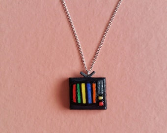 Necklace miniature TV retró