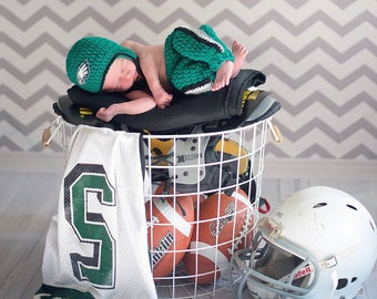 Football Team ,Baby Boy-Girl -Philadelphia Eagles football Helmet crochet baby shower gift ,  PHILADELPHIA EAGLES Baby Ha