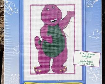 "Barney, Hello Friends, Counted Cross Stitch Kit, Janlynn 16-70, Barney and Frame, Barney Kit, Janlynn Barney Kit, Size 5""x7"", New Sealed Kit"
