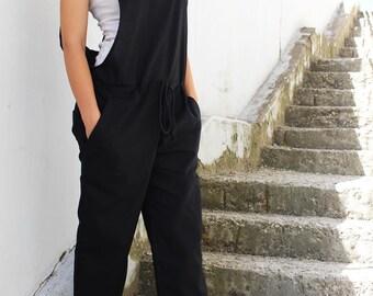 Linen Jumpsuit/Summer Jumpsuit/Black Linen Jumpsuit/Linen Overall/Boho Clothing/Womens Jumpsuit/Linen Romper/Linen Clothes/by Fraktura J0014
