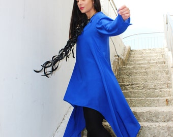 Plus Size Tunic/ Boho Top/ Blue Shirt/ Womens Top/ One Size Top/ Party Top/Oversize Top/ by Fraktura B0056