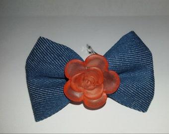 NEW Denim Bow with Pink Flower - Barrette Nickel Clip Hair - Handmade