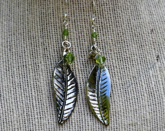 Silver Leaf and Crystal Earrings