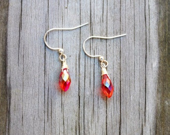 Red Teardrop Crystal and Silver Earring