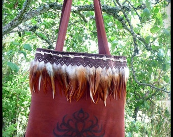 Chaman tree of life leather bag and feather