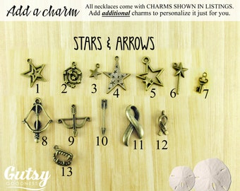 Stars and Boho Themed Arrows and Ribbon Charms You Can Add to Your Gutsy Goodness Pendant Necklace or Keychain, Antique Bronze