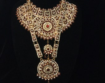 Full Indian, Pakistani, Bollywood Bridal Jewelry Set, Red, Choker Necklace, Rani Haar, Jhumka, Nath, maatha patti, Ring Bracelets, Dulhan