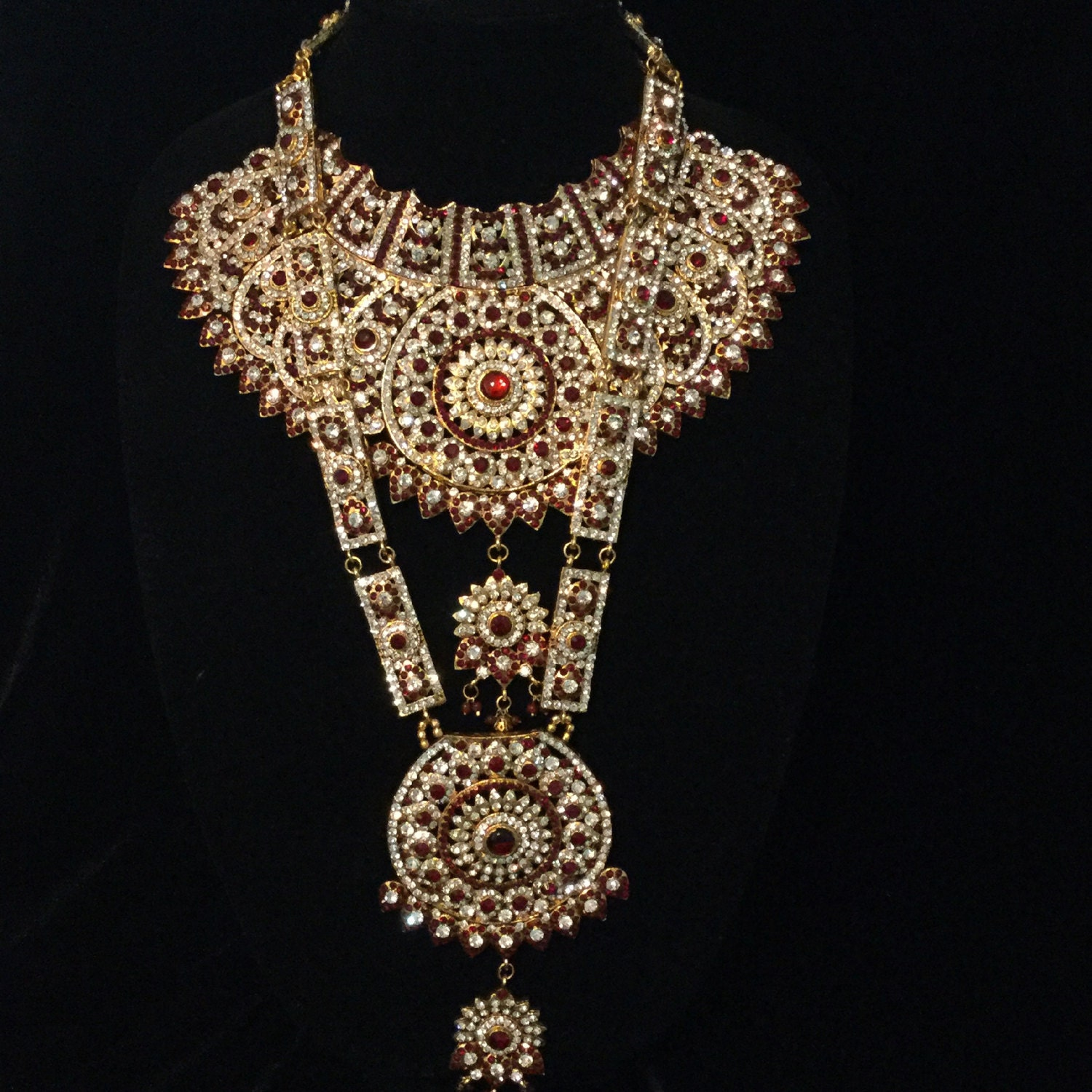 Full Indian Pakistani Bollywood Bridal Jewelry Set Red