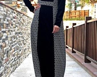 Rombene Maxi Dress / Plus Size Maxi Dress / Abaya Dress Black / Maxi Dress with Sleeves / Hijab Dress Black White / Modest Maxi Dress Black