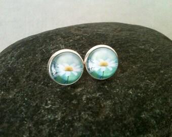 Daisy earrings, flower earrings, 12mm glass cabochon, gift idea, floral jewelry, pastel earrings, gazoline jewelry, spring, summer