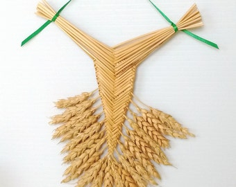 Wall Decor - Wheat Weaving - Corn Dolly - Rustic - Welsh Fan, house blessing, housewarming gift, boho chic, folk art