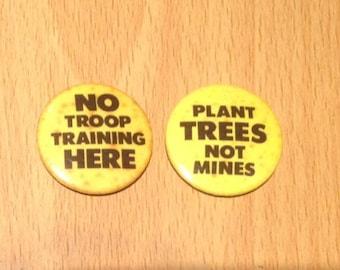 Vintage 1980's Anti War/Green Badges