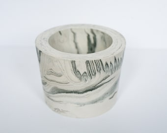 Large Pot / White & Black Marble Pot