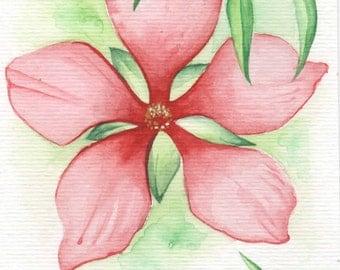 Red Big Flower | 4x6 Original Watercolor