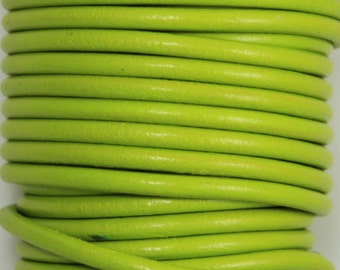 "MADE IN SPAIN 2 feet (24""=61CM) pistachio color round leather cord, 5mm round leather cord, (5PIS)"