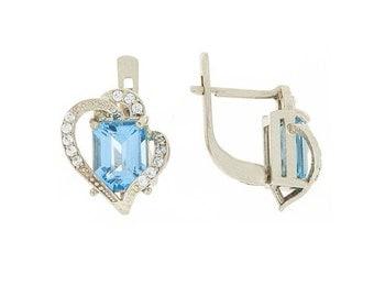 Geometric earrings, Unique earrings, Topaz earrings, Blue stone earrings, Gemstone earrings, Birthstone earrings, Gold earrings