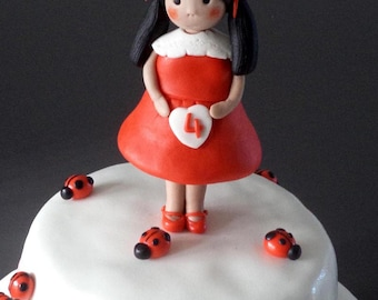 Little Girl in Red Fondant Edible Birthday Cake Topper -  Lady Bug Birthday Cake Topper, Spring, Girly Cake Decor