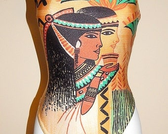 Vintage 80's Novelty Print EGYPTIAN Print Swimsuit // 1980's Cleopatra Egypt // Queen Scene Bathing Suit // RARE Swim Suit
