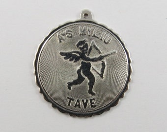 AS MYLIU TAVE (I Love You) Lithuanian Sterling Silver Charm or Pendant.