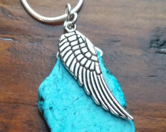Turquoise angel wing necklace, memorial jewelry, loss of a loved one, miscarriage, loss of a child