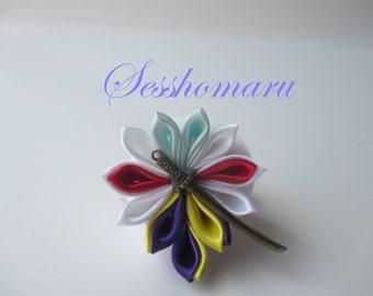Sesshomaru Inspired Kanzashi Flower,Handmade Japanese Fabric Flower HairClip,Yellow, Purple, Red,White, Anime HairJewelry, Inuyasha Inspired