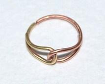 Gold Nose Ring Hoop, Tragus jewelry, Daith earring, Cartilage hoop earring, Helix piercing, Rook piercing, Nose piercing 20 gauge