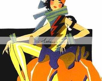 Digital Download Printable Art - Art Deco Witch Halloween Pumpkin Jack O'lantern - Paper Crafts Scrapbook Altered Art - Vintage Halloween