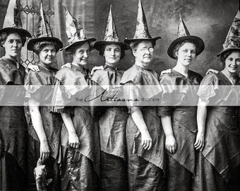 Instant Art Printable Download - Coven of Witches Antique Halloween Photograph - Paper Crafts Scrapbooking Altered Art - Vintage Halloween