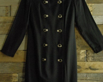 Vintage Wiggle Double Button Coat Dress Made in U.S.A. By Danny & Nicole-New York Size 6P Free Us Standard Shipping