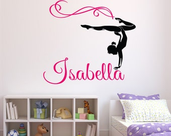 Gymnast Name Wall Decal - Personalized Name Wall Decal - Gymnastics Wall  Decal - Dance Decal - Children Kids Teen Girl Bedroom Decor