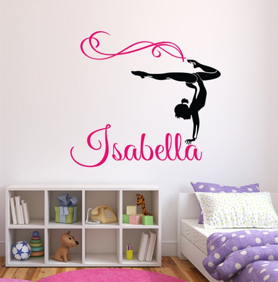 gymnast name wall decal personalized name wall decal. Black Bedroom Furniture Sets. Home Design Ideas