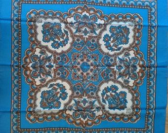 Vintage Large Scarf - Blue White and Browns in a Paisley Type Design in Satin - Unused and Perfect From 1970s Stock