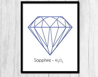 Sapphire Printable Gem Stone Print Printable Art Gemstone Print Sapphire Art Digital Download Chemistry Art Jewel Sapphire Print Wall Art