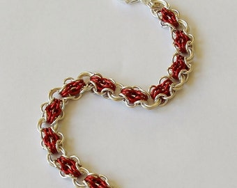 Silver and Red Butterfly Chainmaille Bracelet